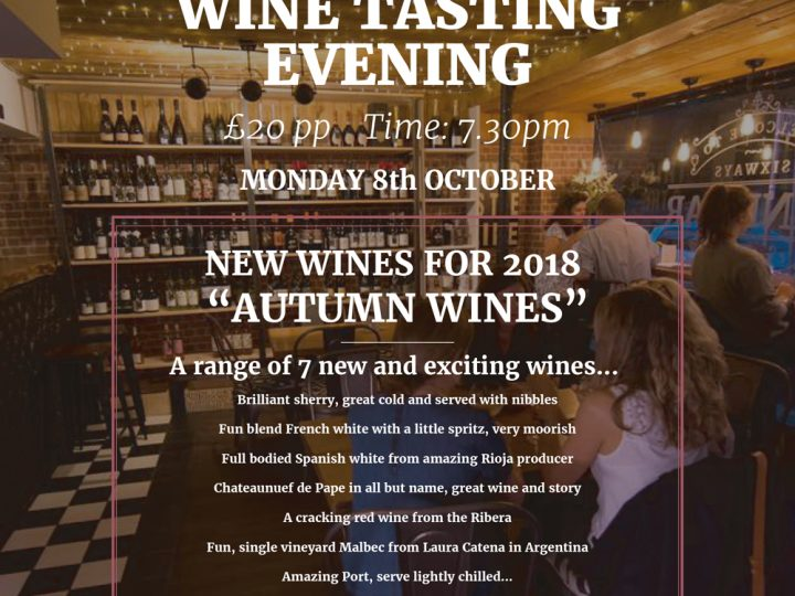 Wine Tasting Evening – 8th Oct